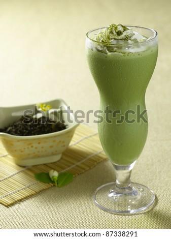 green tea ice drink - stock photo