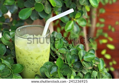Green tea in a glass on a green background - stock photo