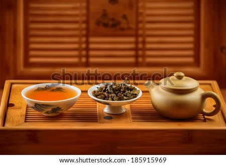 green tea in cup teapot and caddy on wooden tray - stock photo