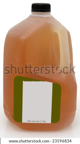 Green tea in one gallon plastic jug with blank label. - stock photo