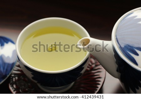 Green tea is poured