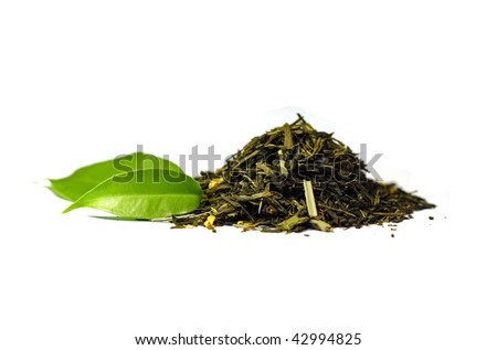 Green tea isolated on white - stock photo