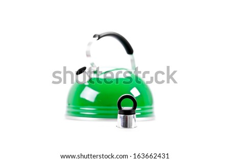 Green tea kettle isolated on white background - stock photo