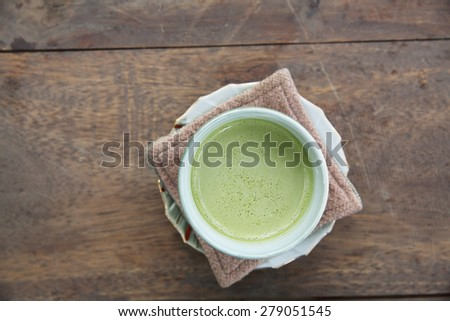 green tea latte - stock photo