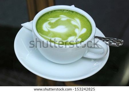 Green tea Latte/Matcha tea art - stock photo