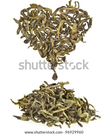 Green tea leaf in shape heart  isolated on white background - stock photo