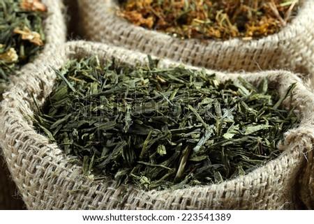 green tea leaves' dry - stock photo