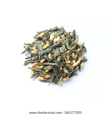 Green tea leaves , Japanese tea , Genmaicha, green tea mixed with roasted brown rice - stock photo