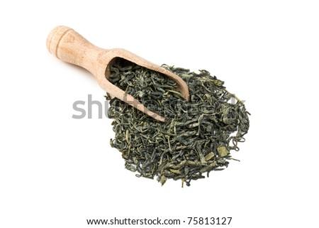 green tea leaves on white background - stock photo