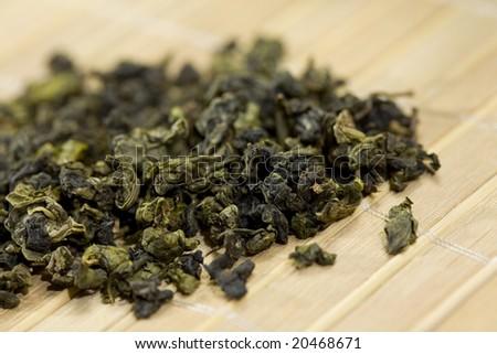green tea on bamboo tray - stock photo