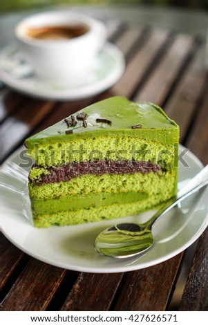 Green tea red bean cake and Coffee background  - stock photo