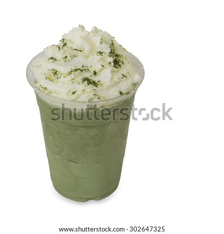 green tea smoothie in takeaway glass isolated on white background with clipping path - stock photo