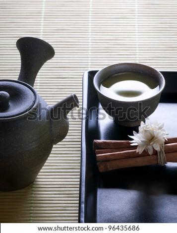 green tea - still life - stock photo
