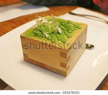 Green tea tiramisu cake - stock photo
