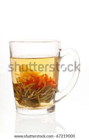 green tea with flower
