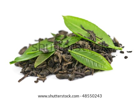 green tea with leaf isolated on white background - stock photo