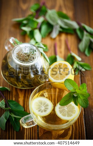 Green tea with lemon and mint - stock photo
