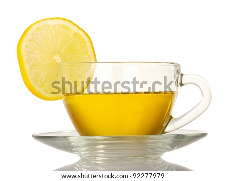green tea with lemon isolated on white - stock photo