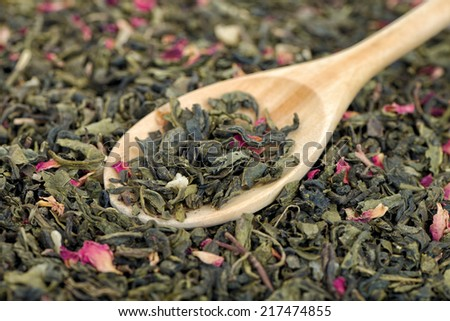 Green tea with prickly pear fruits. - stock photo