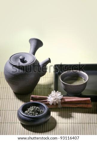 green tea zen style - authentic japanese tea pot - stock photo