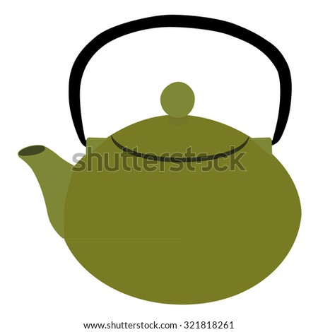 Green teapot, tea party, afternoon tea, teapot raster, teapot isolated - stock photo