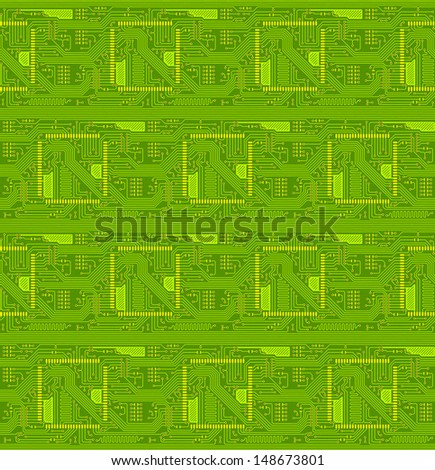 Green technical seamless background in the form of the printed-circuit board