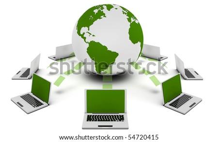 Green Technology 3d Idea as Environment Friendly - stock photo