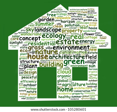 Green technology info-text graphics and arrangement concept (word cloud) in the shape of house. Green awareness program - stock photo