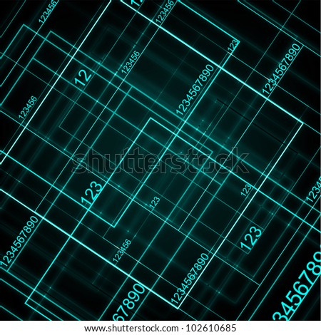 Green Technology With Digital Numbers. - stock photo