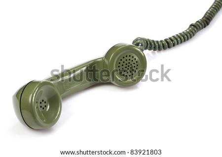 Green Telephone Receiver on white background - stock photo