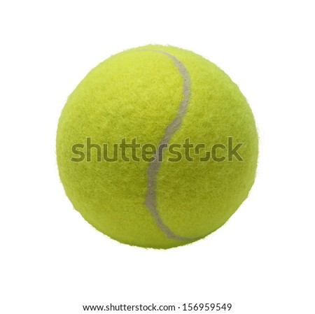 Green Tennis Ball Isolated on White Background. - stock photo