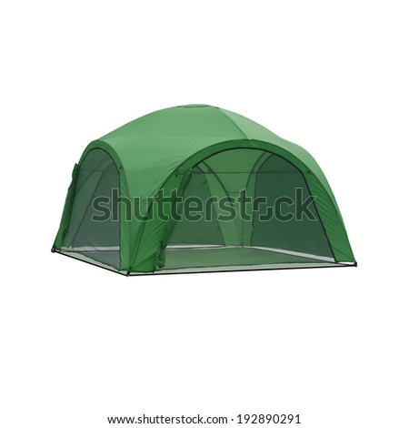 green tent - stock photo