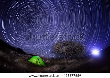 Green tent under a tree against the night sky