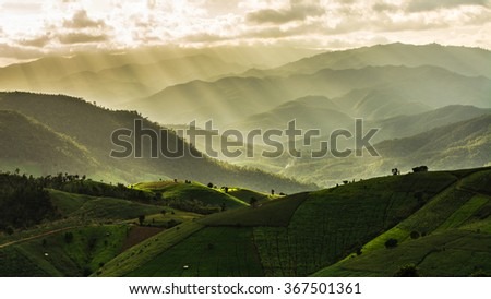 Green terraced field with light ray, mountain and cloud when sunset. Pa Bong Piang rice paddy field in Chiang mai Thailand - stock photo