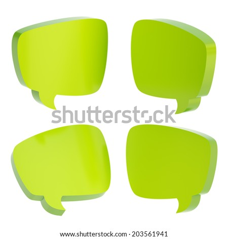 Green text bubble dimensional shapes isolated over the white background, set of four foreshortenings - stock photo