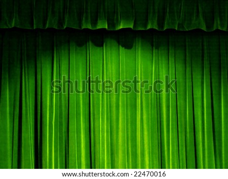 Green Theater Curtain - stock photo
