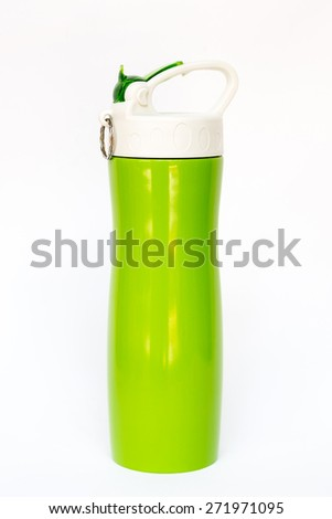 Green thermos travel tumbler - stock photo