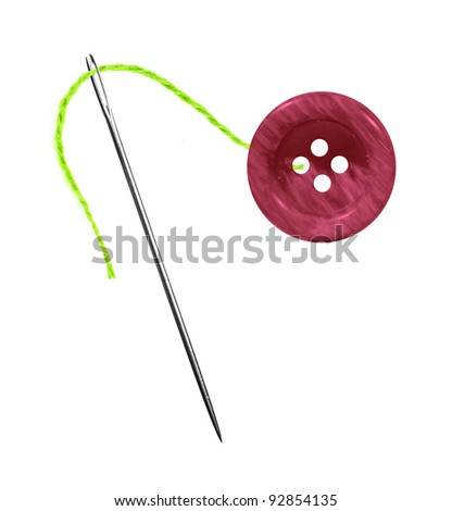 Green thread, needle and button isolated on white background
