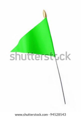 Green three cornered flag isolated on white background - stock photo