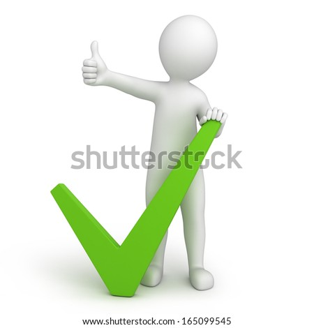 green tick and 3d human with a thumb up. 3d image with a work path