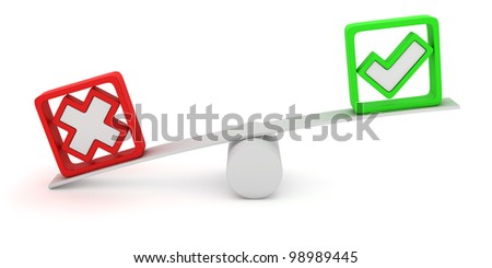 Green tick and red cross balancing on the seesaw - stock photo