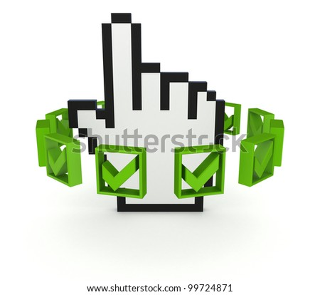 Green tick marks around large cursor.Isolated on white background.3d rendered. - stock photo