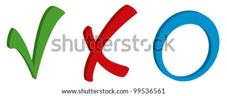 Green tick red cross and blue circle - stock photo