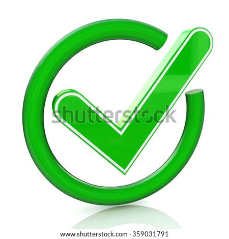 Green tick sign icon 3d. Glass check mark symbol in the design of the information related to the confirmation - stock photo