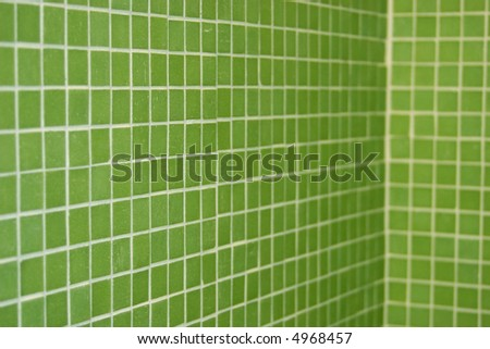 green tile in perspective - stock photo