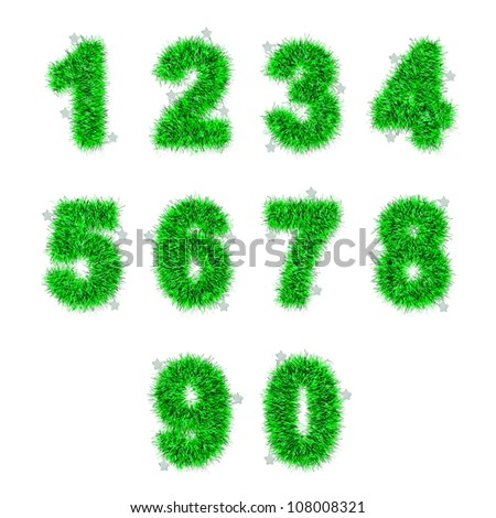 green tinsel digits with star on white background