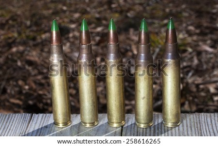 Green tipped ammunition that some think is armor piercing - stock photo