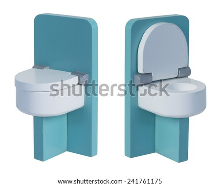Green toilet with wooden seat shown with seat down and seat up - path included - stock photo
