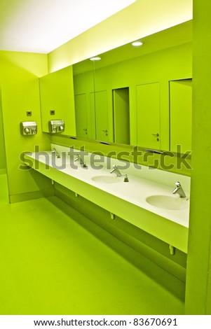 green Toilets - stock photo