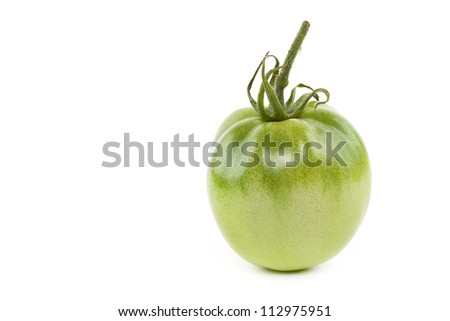 Green tomato isolated on white background